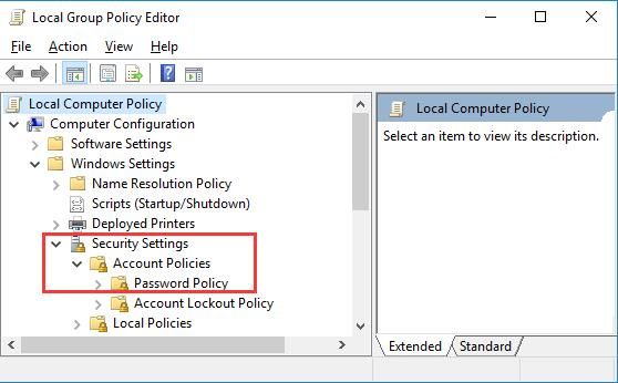 password policy in group policy