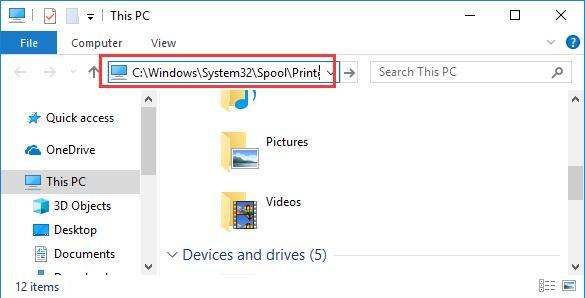 printer folder in file explorer