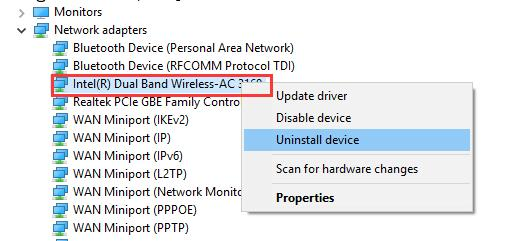 uninstall wireless driver