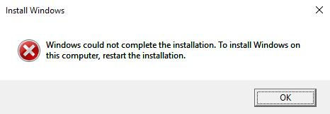 windows could not complete the installation