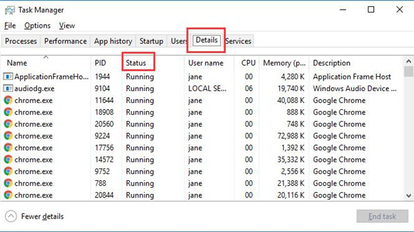 applications running in task manager