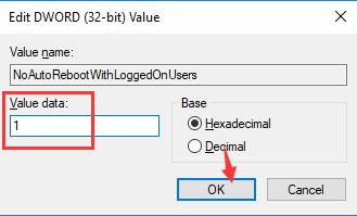change no auto reboot with logged users value to 1