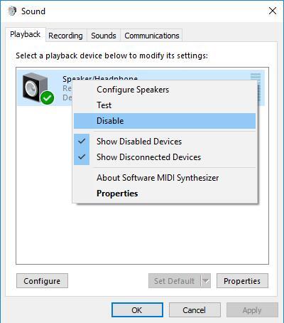 disable speaker