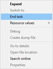 end spotify task in task manager