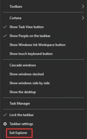 exit explorer in taskbar