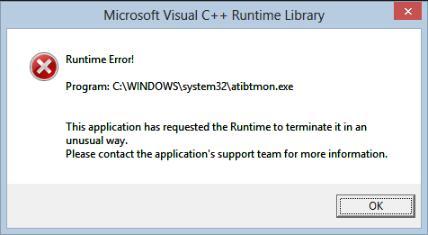 fix atibtmon.exe runtime error windows 10