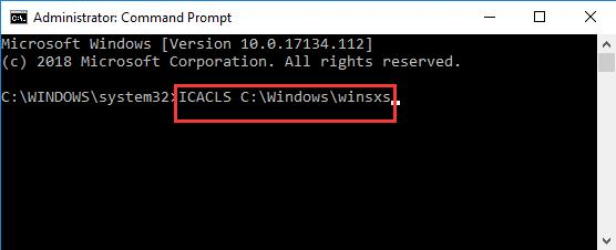 icaicls windows winsxs in command prompt
