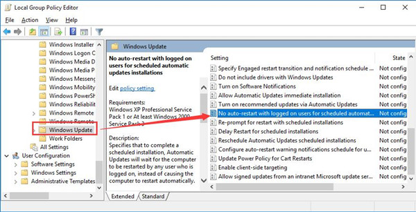 no auto restart with logged on users for scheduled automatic updates installations