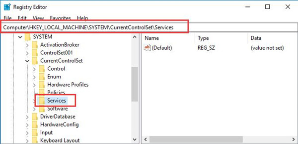 services under system in registry editor