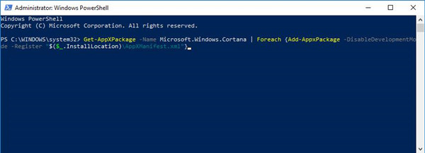 uninstall cortana from windows powershell