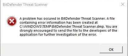 a problem has occurred in bitdefender threat scanner