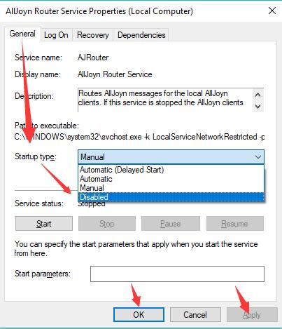 disable alljoyn router service