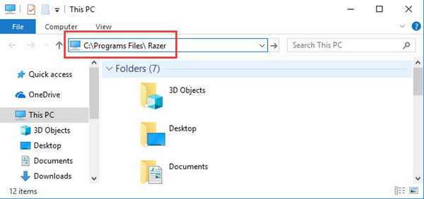 razer in file explorer