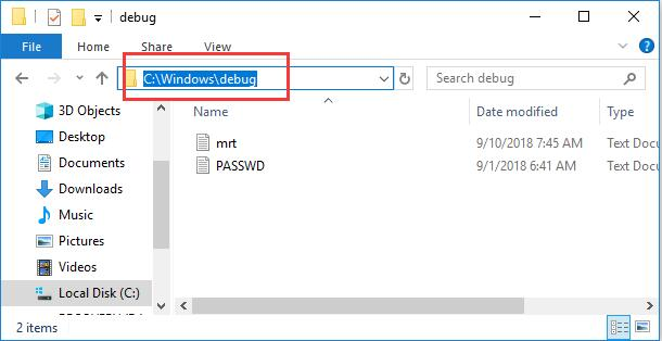 windows debug in file explorer