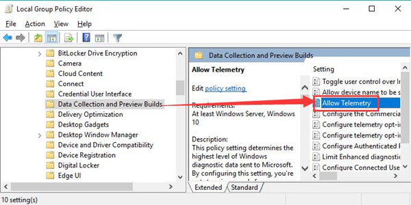 allow telemetry in group policy editor