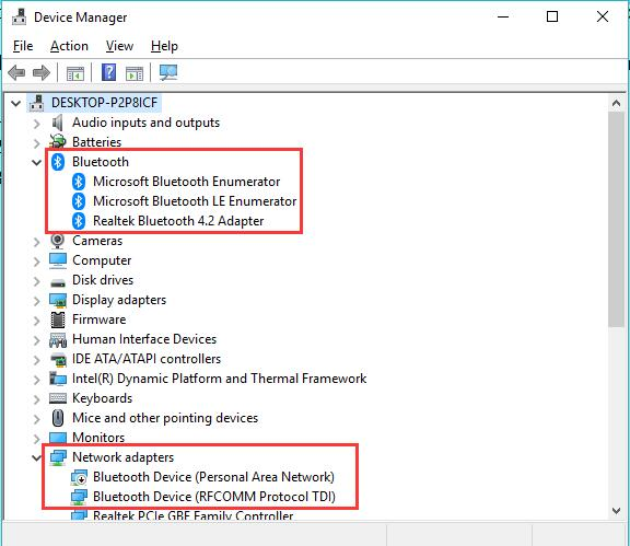 bluetooth in device manager