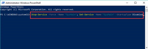 disable superfetch in windows powershell