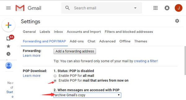enable pop for mail that arrives from now on