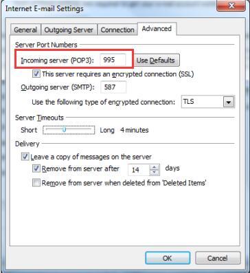 incoming server pop3 995