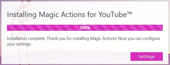 magic actions youtube settings