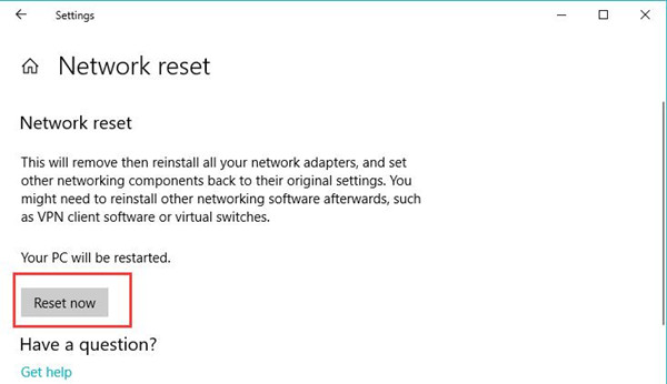 reset windows 10 network