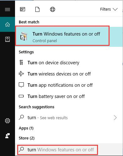 search turn windows features on or off