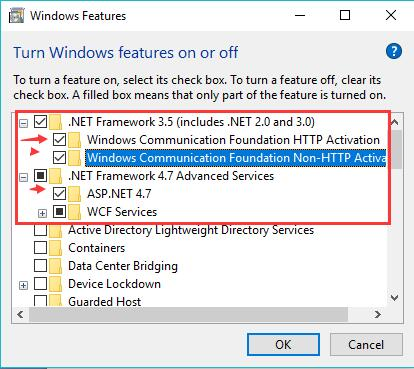 turn off windows feature net framework