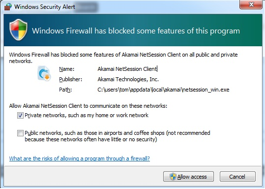 windows firewall blocked some features of akamai hetsession on public and private network
