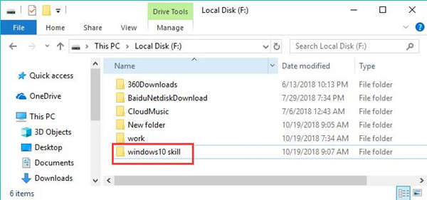 windows 10 skill folder