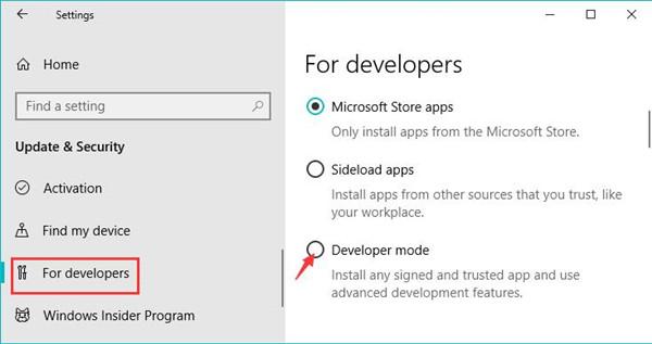 developer mode under for developer