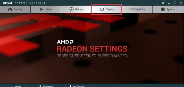 display tab in radeon settings