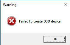 failed to create d3d device windows 10