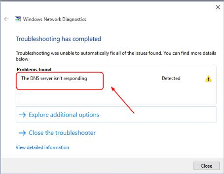 dns server not responding windows 10