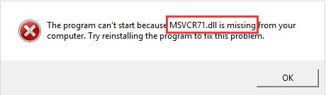 msvcr71.dll missing windows 10