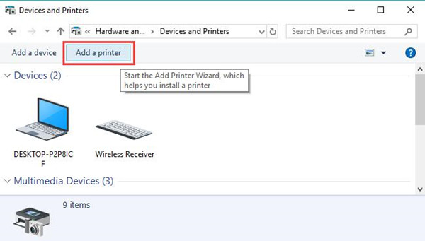 add a printer in control panel