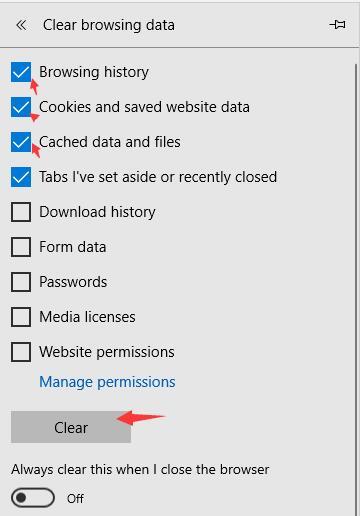 clear microsoft edge browsing cache