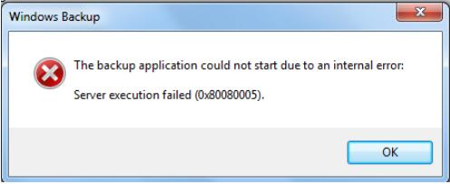 the backup application could not start due to internal error