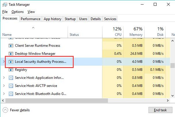 fix lsass.exe high cpu and disk usage windows 10