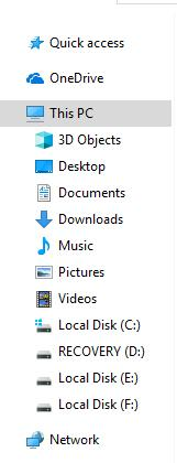 left side of file explorer window