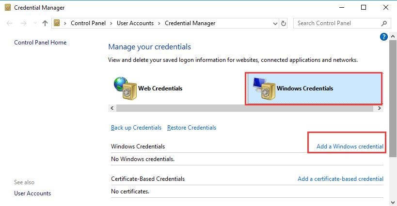 add a windows credentials