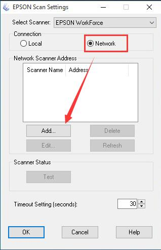add epson scan to network