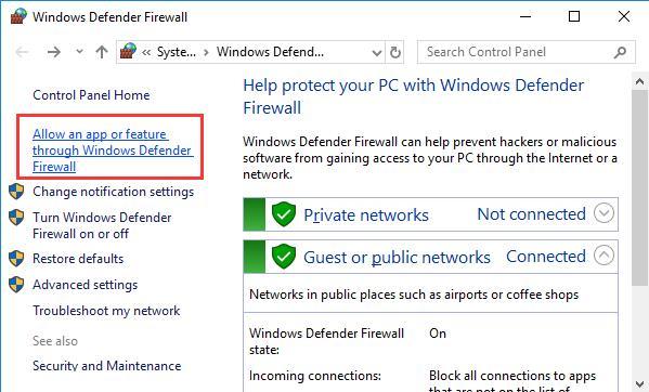 allow an app to feature through windows defender firewall