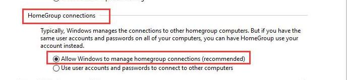 allow windows to manage homegroup connections