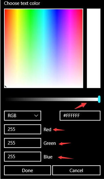 change text color in high contrast