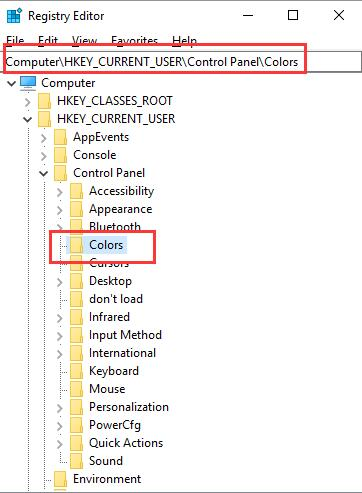 color in registry editor
