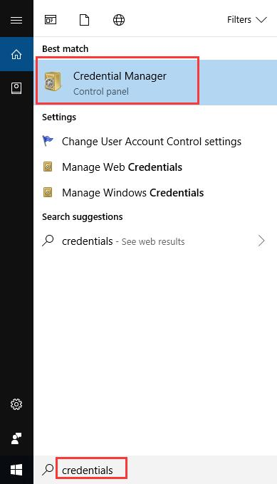 credentials manager in the search box