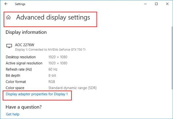 display adapter properties to display1