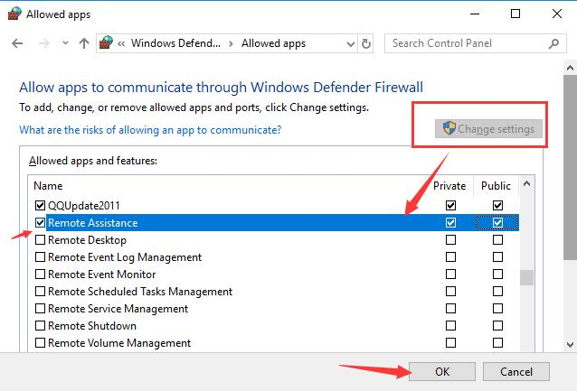 enable remote assistance in firewall