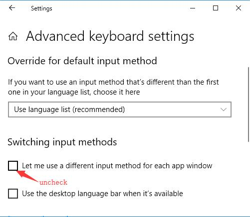 let me use a different input method for each app window