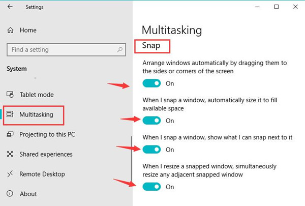 multitasking in system settings